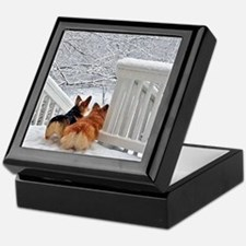 Two Corgis in winter snow Keepsake Box