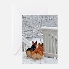 Corgis in Winter Greeting Cards
