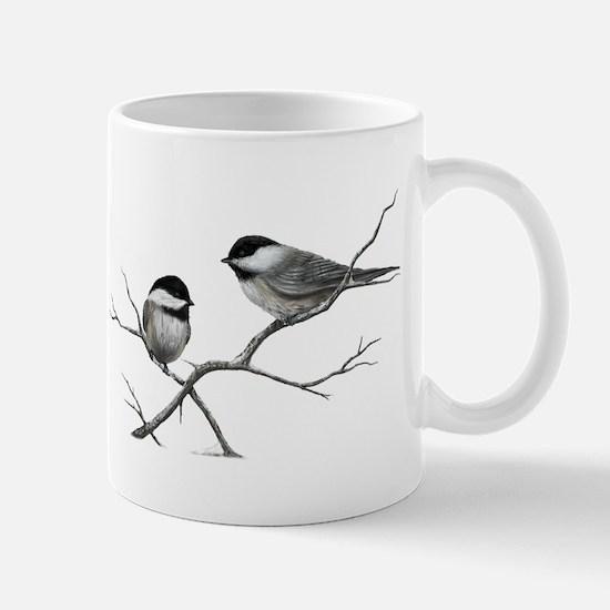 chickadee birds Mugs