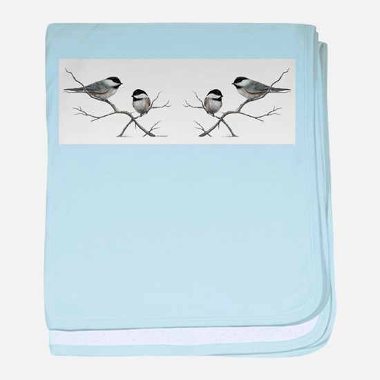 chickadee birds baby blanket