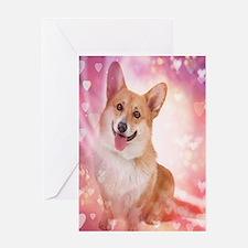 Smiling Corgi Valentine Greeting Cards