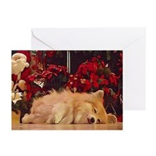 Sleepy Christmas Corgi Greeting Cards