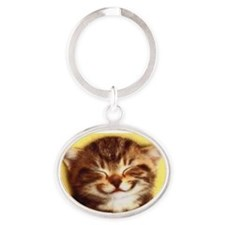 Cute Smiling cat Oval Keychain