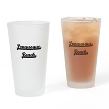 Ponquogue Beach Classic Retro Desig Drinking Glass