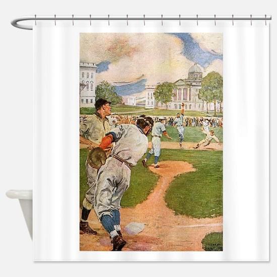 baseball art Shower Curtain