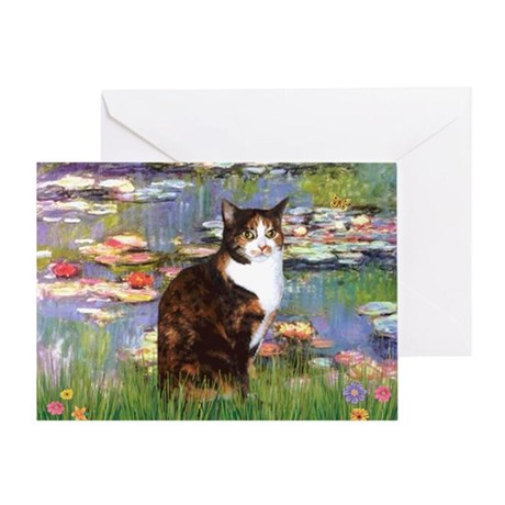 Lilies & Calico Cat Greeting Card