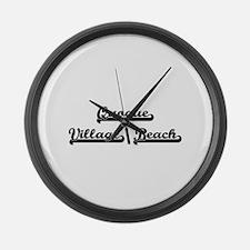 Quogue Village Beach Classic Retr Large Wall Clock