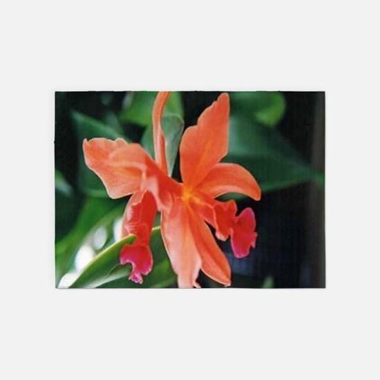 Orange orchid 5'x7'Area Rug