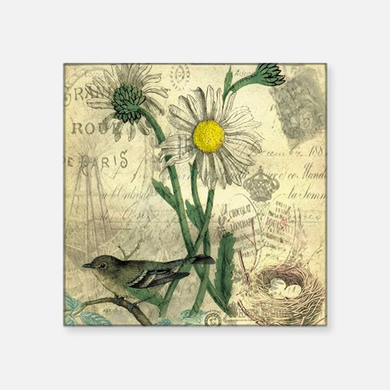 "Vintage Daisy and bird Square Sticker 3"" x 3"""
