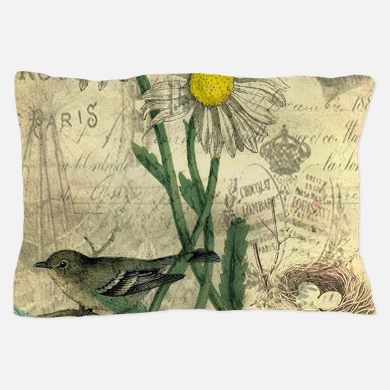 Vintage Daisy and bird Pillow Case