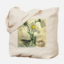 Vintage Daisy and bird Tote Bag
