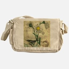 Vintage Daisy and bird Messenger Bag