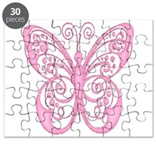 Pretty Pink Filigree Butterfly Puzzle