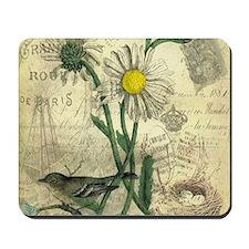 Vintage Daisy and bird Mousepad