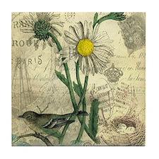 Vintage Daisy and bird Tile Coaster