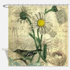 Vintage Daisy and bird Shower Curtain