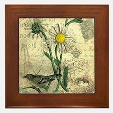 Vintage Daisy and bird Framed Tile