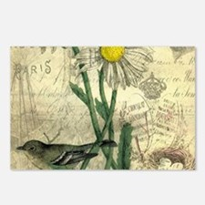 Vintage Daisy and bird Postcards (Package of 8)