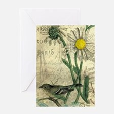 Vintage Daisy and bird Greeting Cards