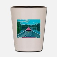Canoe on River Shot Glass