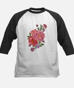 Pink Double Roses Kids Baseball Jersey