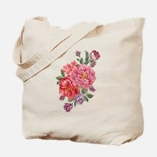 Pink Double Roses Tote Bag
