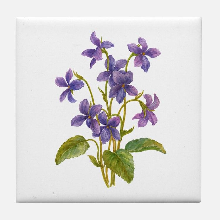 Purple Violets Tile Coaster