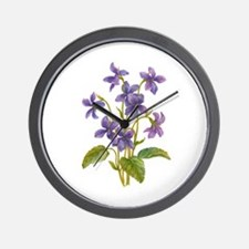 Purple Violets Wall Clock
