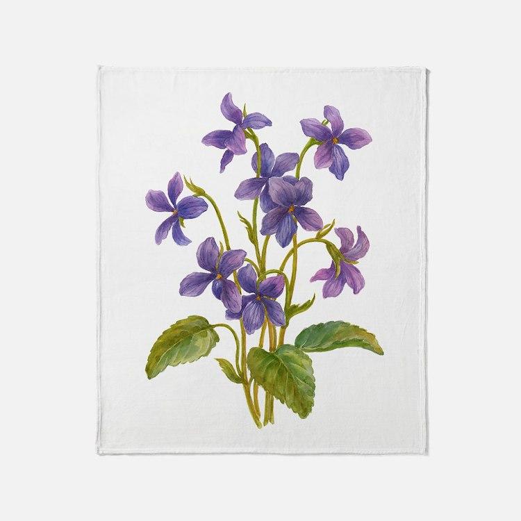 Purple Violets Throw Blanket