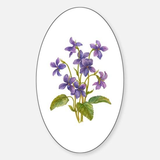 Purple Violets Sticker (Oval)