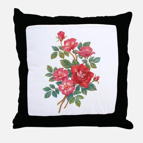 Romantic Red Roses Throw Pillow