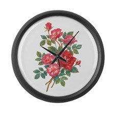 Romantic Red Roses Large Wall Clock