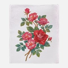 Romantic Red Roses Throw Blanket