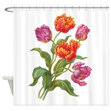 Wine and Apricot Parrot Tulips Shower Curtain