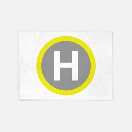 Helipad Sign 5'x7'Area Rug