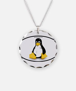 Tux Linux Oval Necklace
