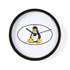 Tux Linux Oval Wall Clock