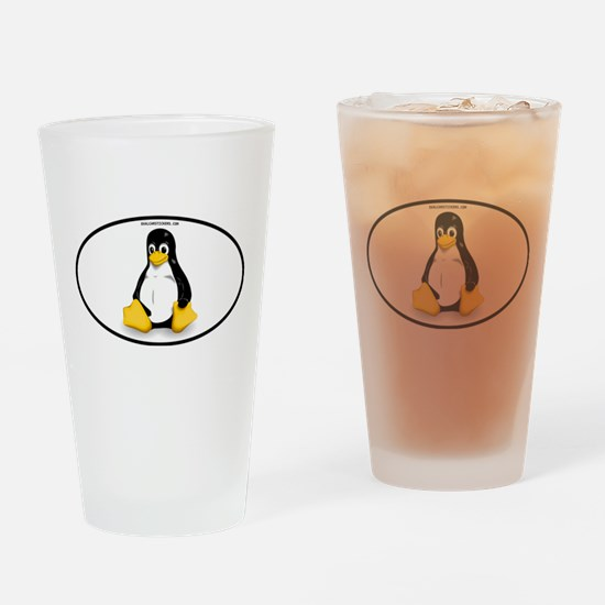Tux Linux Oval Drinking Glass