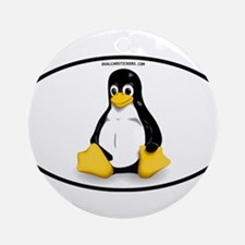 Tux Linux Oval Ornament (Round)