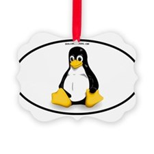 Tux Linux Oval Ornament