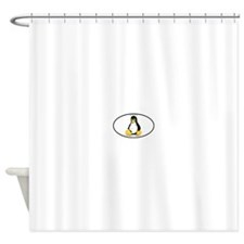 Tux Linux Oval Shower Curtain