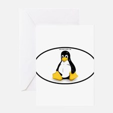 Tux Linux Oval Greeting Cards