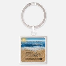 Footprints in the Sand Square Keychain