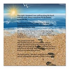 "Footprints in the Sand Square Car Magnet 3"" x 3"""