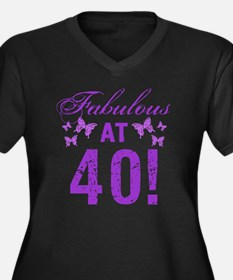 Fabulous 40t Women's Plus Size V-Neck Dark T-Shirt