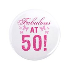 Fabulous 50th Birthday Button
