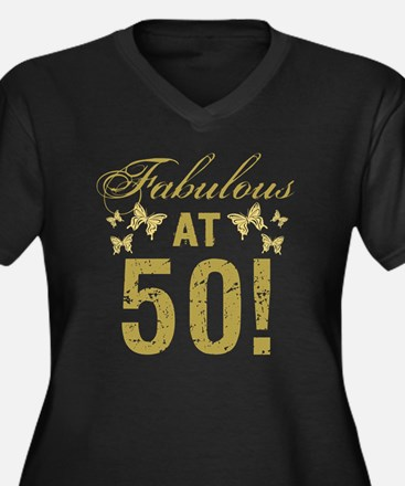 Fabulous 50t Women's Plus Size V-Neck Dark T-Shirt