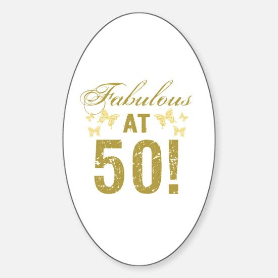 Fabulous 50th Birthday Sticker (Oval)