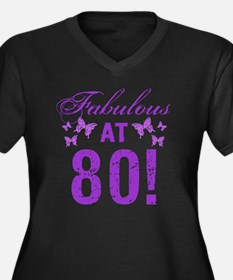 Fabulous 80t Women's Plus Size V-Neck Dark T-Shirt