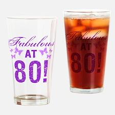 Fabulous 80th Birthday Drinking Glass